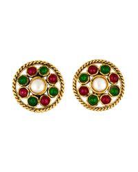 Chanel   Metallic Pearl & Gripoix Clip-on Earrings Gold   Lyst