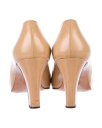 Chanel - Natural Leather Cap-toe Pumps Tan - Lyst