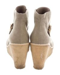 Stella McCartney - Metallic Round-toe Wedge Booties Gold - Lyst