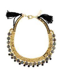 Lizzie Fortunato - Metallic Labradorite & Crystal Collar Necklace Gold - Lyst