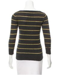 A.P.C. - Yellow Striped Bateau Neck Sweater Olive - Lyst