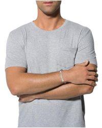 Bottega Veneta - Metallic Textured Id Leather Bracelet Silver for Men - Lyst