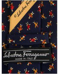 Ferragamo - Yellow Silk Abstract Print Tie Blue for Men - Lyst