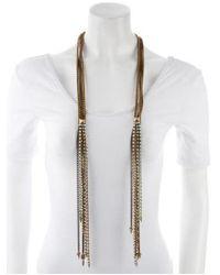 Fallon - Metallic Rhinestone & Chain Multistrand Necklace Gold - Lyst