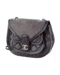 Chanel - Metallic 2015 Paris-salzburg Saddle Bag Grey - Lyst