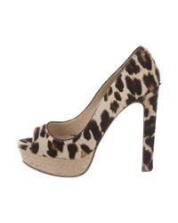 Miu Miu - Natural Miu Peep-toe Ponyhair Pumps Tan - Lyst