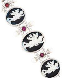 Tagliamonte - Metallic Pearl & Ruby Cameo Bracelet Silver - Lyst