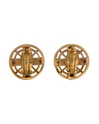 Chanel - Metallic Logo Clip-on Earrings Gold - Lyst
