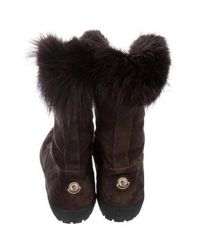Moncler - Brown Fur-trimmed Suede Boots - Lyst