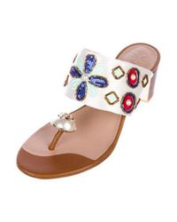 Tory Burch - Metallic Satin Embellished Sandals Multicolor - Lyst