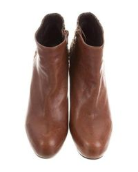 Stuart Weitzman - Brown Leather Platform Ankle Boots - Lyst
