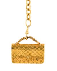 Chanel - Metallic Vintage Bag Charm Necklace Gold - Lyst
