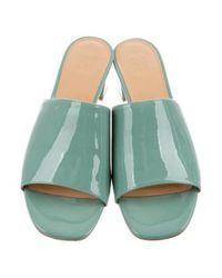 Maryam Nassir Zadeh - Green Patent Leather Slide Sandals Mint - Lyst
