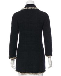 Chanel - Black Embellished Bouclé Coat - Lyst