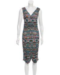 Jean Paul Gaultier - Blue Printed Draped Dress - Lyst