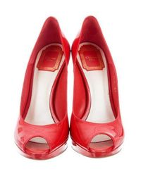 Dior - Metallic Miss Peep-toe Pumps Red - Lyst