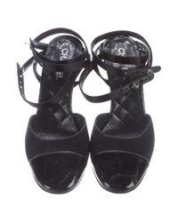 Chanel - Black Cap-toe Wrap-around Pumps - Lyst