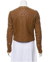 MICHAEL Michael Kors - Metallic Michael Kors Leather Cropped Jacket Brown - Lyst