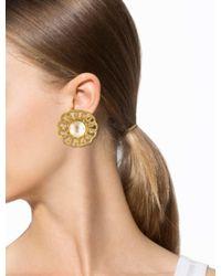 Chanel | Metallic Large Pearl Medallion Earrings Gold | Lyst