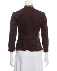 MICHAEL Michael Kors - Natural Michael Kors Embellished-accented Button Up Jacket Brown - Lyst