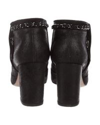Chanel - Metallic Leather Chain-link Ankle Boots Black - Lyst