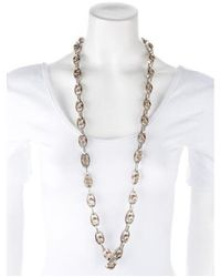 Lanvin - Metallic Crystal Chain Necklace Silver - Lyst
