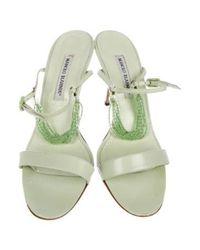 Manolo Blahnik - Green Leather Ankle-strap Sandals Mint - Lyst