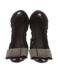 Louis Vuitton - Metallic Bow-embellished Cap-toe Flats Black - Lyst
