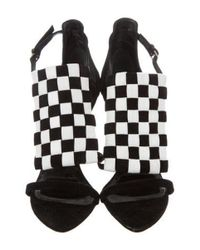 Proenza Schouler - Black Suede Checkerboard Sandals - Lyst