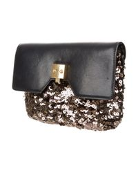 Marc Jacobs - Metallic Leather & Sequin Clutch Black - Lyst