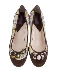 Emilio Pucci - Brown Suede Ruffle-trimmed Pumps - Lyst