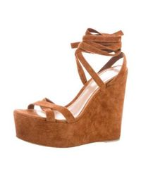 Gianvito Rossi - Brown Suede Platform Wedges - Lyst