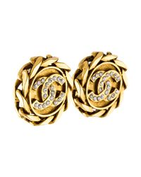Chanel - Metallic Crystal Cc Chain Clip-on Earrings Gold - Lyst