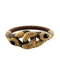 Roberto Cavalli - Metallic Dual Serpent Embellished Bangle Bracelet Gold - Lyst