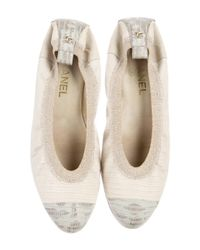 Chanel - Metallic Lizard Cap-toe Flats Tan - Lyst
