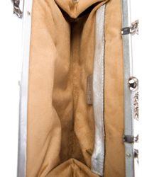 Roberto Cavalli - Metallic Sequined Satin Clutch White - Lyst