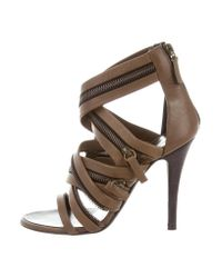 Giuseppe Zanotti | Green Leather Zip-accented Sandals Olive | Lyst