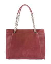 Chanel - Metallic Cc Tuck Tote Red - Lyst