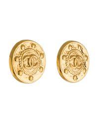 Chanel - Metallic Cc Medallion Earrings Gold - Lyst