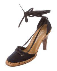 Chanel - Black Satin Lace-up Pumps - Lyst