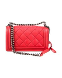Chanel - Metallic Medium Double Stitch Boy Bag Red - Lyst