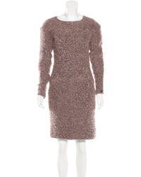 Chanel | Pink Bouclé Sheath Dress | Lyst