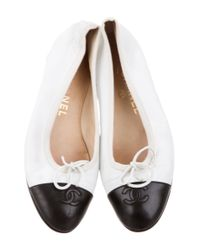Chanel - White Cap-toe Leather Flats - Lyst