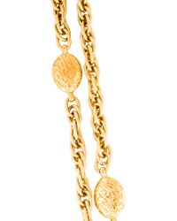 Chanel - Metallic Logo Station Chain Necklace - Lyst