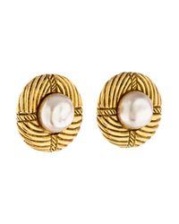 Chanel - Metallic Pearl Medallion Earrings Gold - Lyst