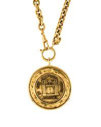 Chanel - Metallic Medallion Pendant Necklace Gold - Lyst