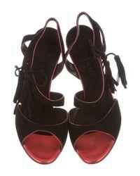 Chanel - Black Suede Tie Sandals - Lyst