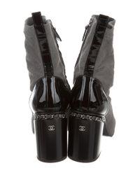 Chanel - Metallic 2016 Ponyhair Cap-toe Ankle Boots Grey - Lyst