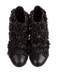 Chanel - Metallic Round-toe Camellia Booties Black - Lyst