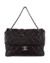 Chanel - Metallic Quilted Nature Messenger Bag Black - Lyst